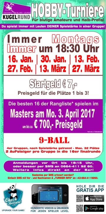 Billard Turnier für Hobbyspieler | Montagsturnier Kugelrund Billardcenter
